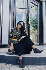 Bring Color And Style In Charlotte U0027s Lookbook Velvet Pleated Skirt Zaful U0026 Camo Print