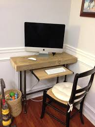 Small Wood Desk Small Laptop Computer Desk Reclaimed Wood W Industrial