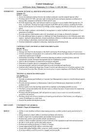 technical services specialist resume samples velvet jobs