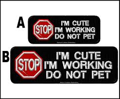 stop no touch ignore me working do not pet service dog patch 2x6