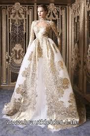 designer brautmode farbiges designer brautkleid in weiss gold hochzeitskleider
