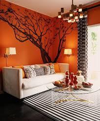 Orange Living Room Interior Design Ideas With Carpet Image - Orange interior design ideas