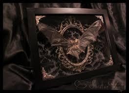 gothic taxidermy bat goth curio black antique damask brass