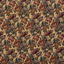 beige green and burgundy vintage floral tapestry upholstery fabric