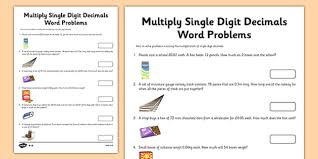 year 6 multiply single digit decimals word problems activity