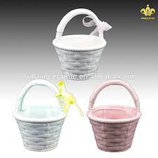 easter buckets wholesale wholesale ceramic easter basket with ribbon buy ceramic easter