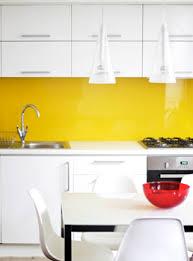 Orange And White Kitchen Ideas Yellow Glass Splashback This Simple White Kitchen Is