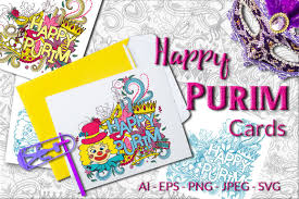 purim cards happy purim vector cards by elinorka design bundles