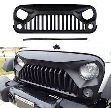 jeep wrangler front grill abs front grill matte black grille hood fit jeep wrangler jk 07 17