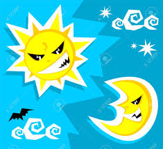 cartoon angry sun and moon halloween illustration royalty free
