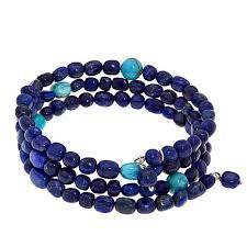 turquoise beads bracelet images Jay king lapis and turquoise bead sterling silver coil bracelet jpg
