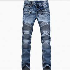 mens light colored jeans kilimall men s light colored folds slim footed jeans blue1808 28 511046