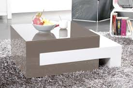 luna glossy taupe grey extending coffee table miliboo
