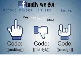 Facebook Chat Meme Codes - inally we got middle finger di s like rocks facebook for chat code