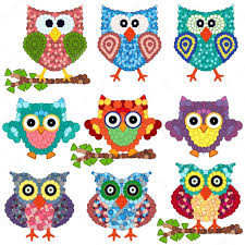 set of nine ornamental owls stock vector natreal 77671134