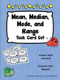 mean median mode range task cards for teaching mean median and