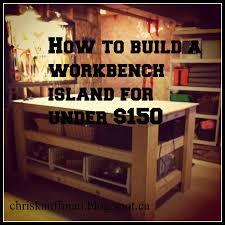 white wood diy workbench island for under 150