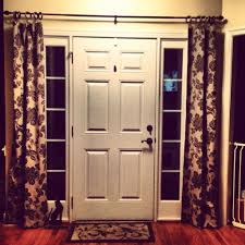 front door with sidelight curtains featured rods decor
