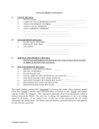 Vendor Contract Template Create A Styled Shoot Contract Simply Contract