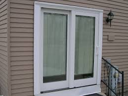 exterior design white slider pella doors with white handle and