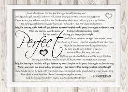 ed sheeran perfect text ed sheeran perfect framed cloud nine treasures