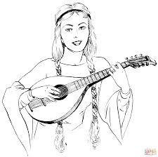 woman in braids playing a lute coloring page free printable