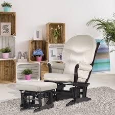 Armchair Ottoman Set Dutailier Beige Microfiber Espresso Finished Glider Chair Ottoman