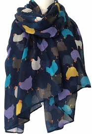 a chicken print scarf navy blue scarf with white purple and yellow