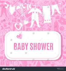baby shower card pink color arrival stock vector 407216731