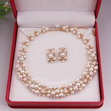 earring necklace sets wedding images Worldwide imitation pearl simple elegant bridal jewelry sets kit jpg