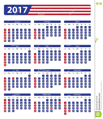 usa calendar 2017 with official holidays stock vector image