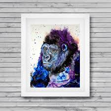 gorilla art print gorilla wall decor zoo animal art ape