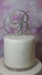 rhinestone cake initial monogram wedding cake topper swarovski rhinestone