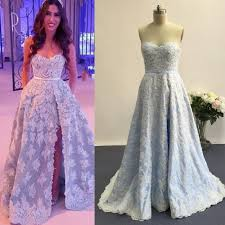 light blue prom dresses 2016 with side slit a line beaded lace
