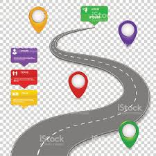 road map navigation infographics design concept with car road roadmap stock