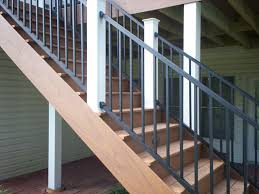 displayed here are metal deck railings and timbertech stairs for