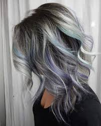 Black Low Lights For Grey | 21 grey hair with black lowlights and purple and turquoise