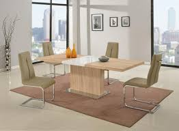 Light Oak Dining Room Sets Light Oak Dining Set With White Glossy Middle Extension And Chairs