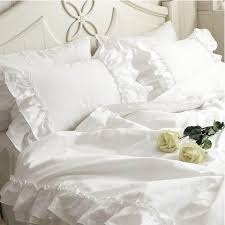 Ruffle Bedding Shabby Chic by White Double Ruffle Duvet Cover Set Shabby Chic Bedding Ruffle