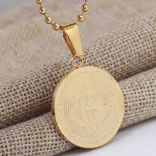 necklace pendant coin images Bitcoin coin pendants necklaces for men women punk stainless steel jpg