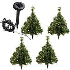 35 cm solar powered mini christmas trees with 10 warm white led