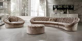 Leather Tufted Sectional Sofa Living Room Curved Sectional Sofa With Recliner Curved