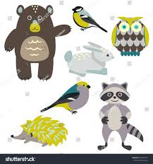 forest cartoon animals isolated on white stock vector 485403319