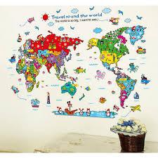 aliexpress com buy world map aircraft wall sticker decal animals