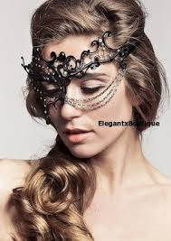 laser cut masquerade masks black phantom w gold metal chain venetian laser cut
