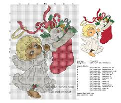 Cross Stitch Pattern Christmas Baby Angel With White Cat