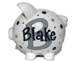 Monogrammed Piggy Bank Black Piggy Bank Etsy