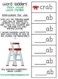 word ladders short vowels by positively learning tpt