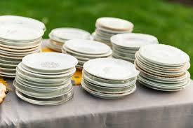 mismatched plates wedding handcrafted oregon wedding ruffled
