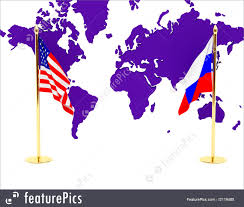 the american and russian flag on a background of a card of the world